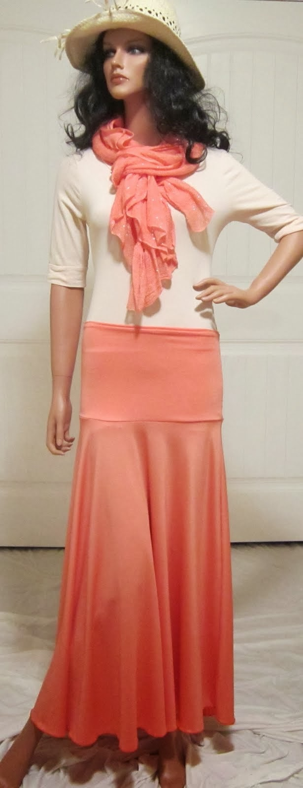Solid Peach Stretch Knit Jersey Maxi