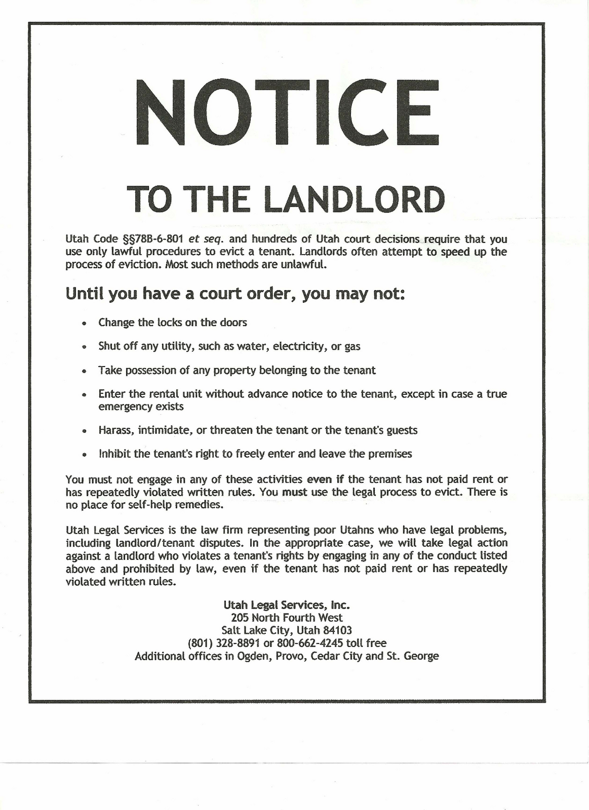 what to write in a 30 day notice to landlord