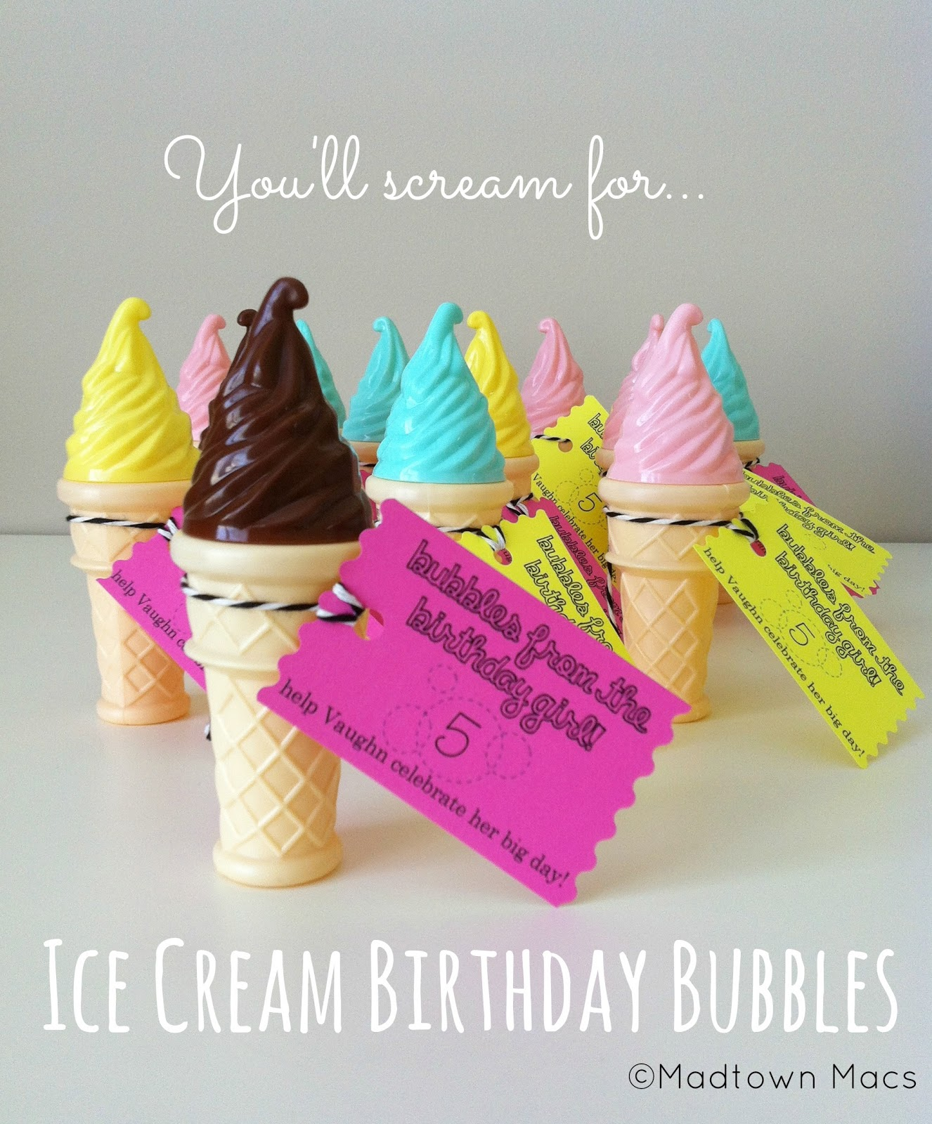 Ice Cream Birthday Bubbles: Non-Edible Classroom Treats