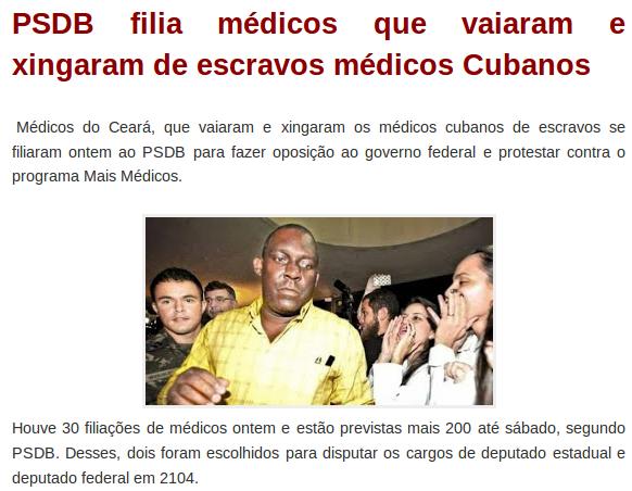 Aécio Neves repete ofensas dos médicos tucanos que vaiaram cubanos, e ameaça perseguir e impedir médicos de Cuba de trabalhar no Brasil