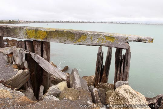 Fishermen's perch, Inner Harbour channel, Ahuriri, looking towards Westshore, Napier photograph