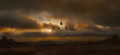 Helicopters flying into sunset, Terminator Salvation