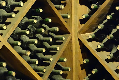Dusty bottles in the cellar at Beringer Vineyards