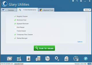 Glary Utilities 1-click maintainence screen shot
