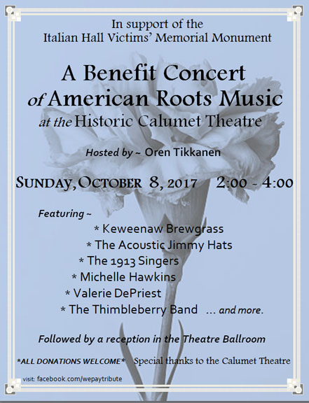 Benefit Concert at Calumet Theatre Oct. 8