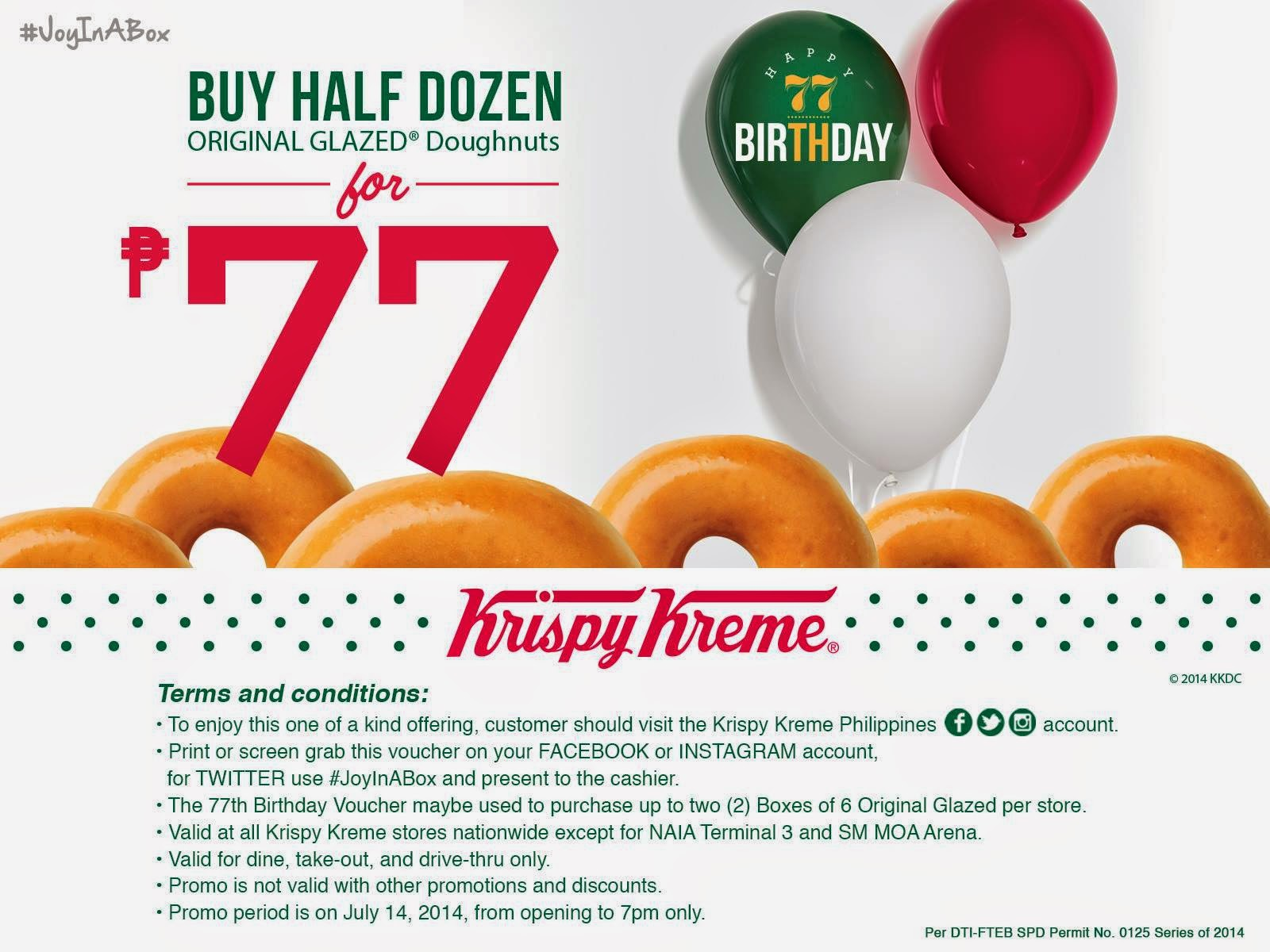 Krispy Kreme #JoyInABOx Voucher, Krispy Kreme's 77th birthday