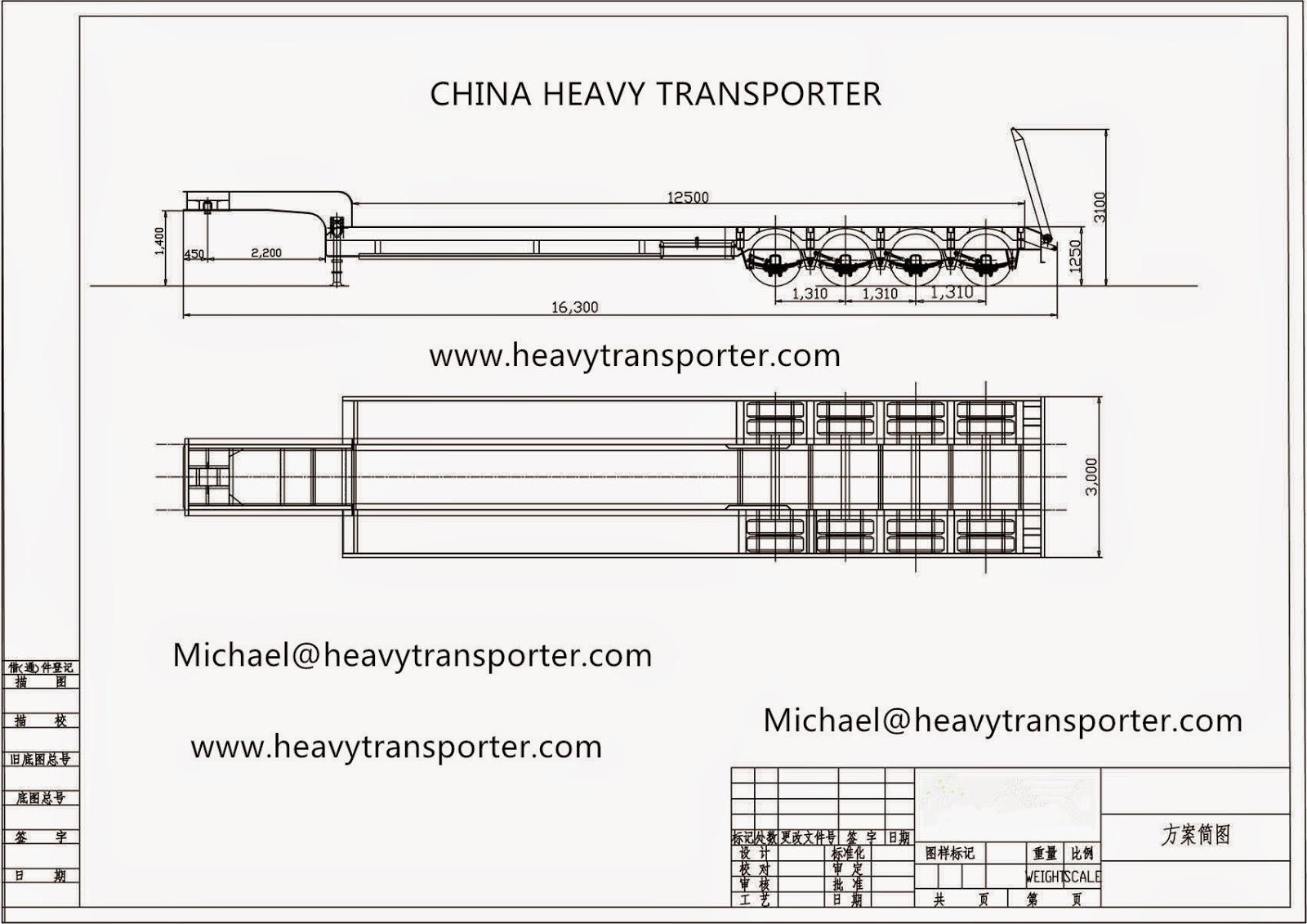 China Heavy Transporter 4 Axles Lowbed Semi Trailer China
