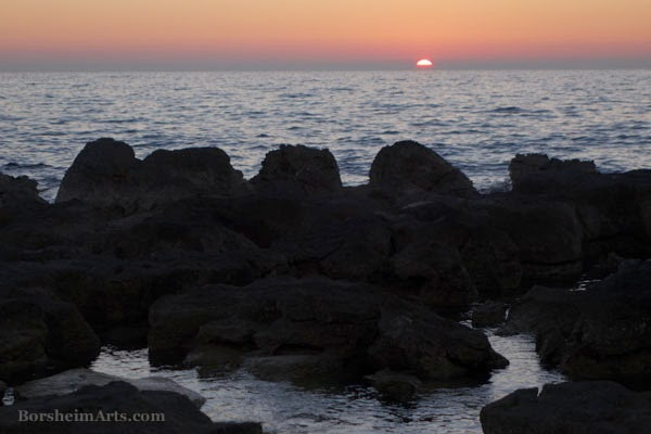 Setting Sun Adriatic Sea Umag Croatia red sunset