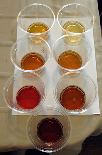 The seven beers arranged by color.