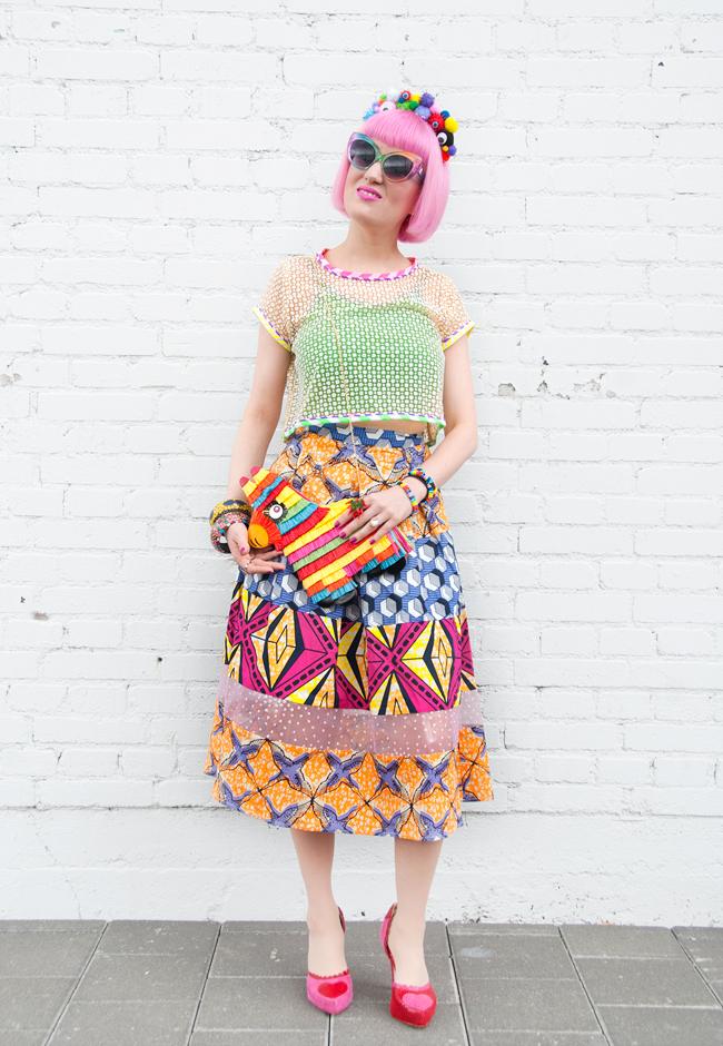 celia b look, street style, piñata bag