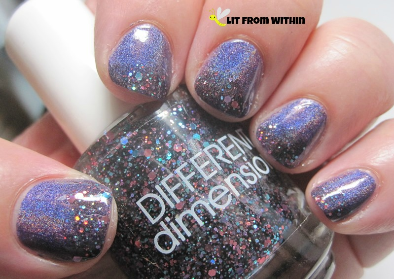 Glitter tips with Blue-Eyed Girl Lacquer BEG Love, and Different Dimension Orbital