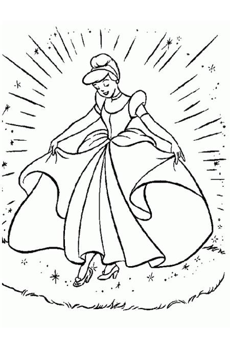 الأميرة سندريلا وهي في فستان السحر الجميل لتلوين البنات