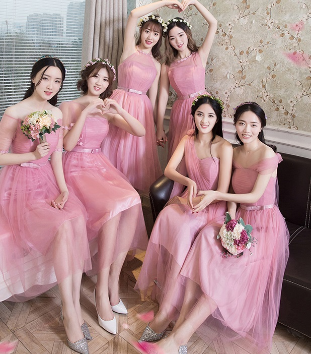 2017 6-design Pink Past Knee Length Dress Bridesmaid Dress