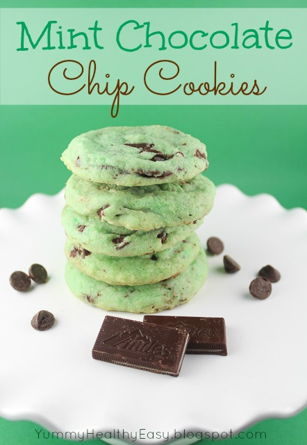 Chocolate Cookies With Green Mint Chips