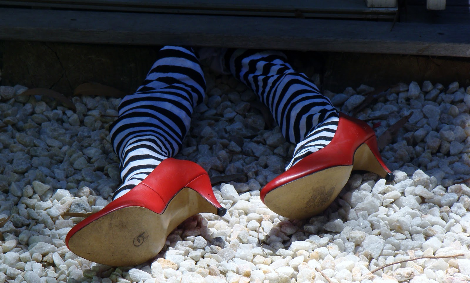 DIY witches legs decoration-red shoes from op shop  and children s    Wizard Of Oz Ruby Slippers Under House