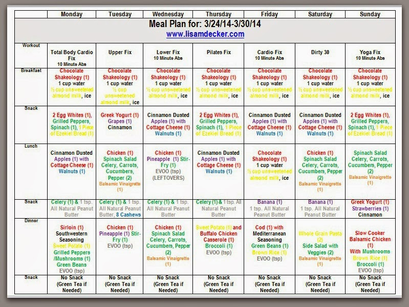 Customizable meal plan that goes with the 21 Day Fix