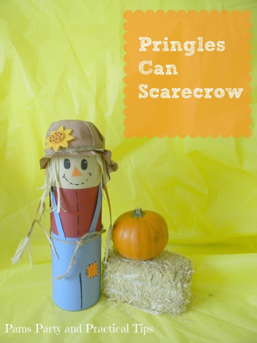 Scarecrow made from a chip can