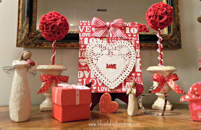 Valentine's Day vignette, Dollar Tree decor, cheap home decor
