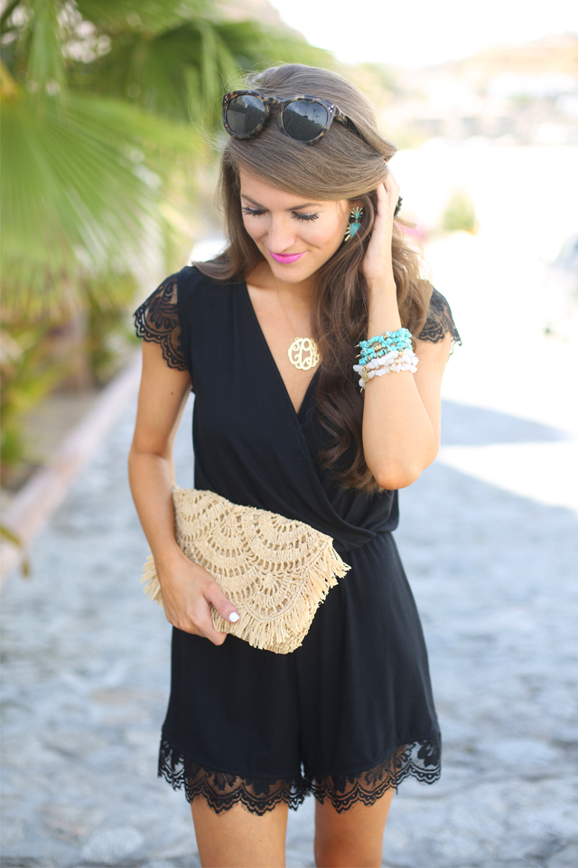 Southern Curls & Pearls Black Lace Romper