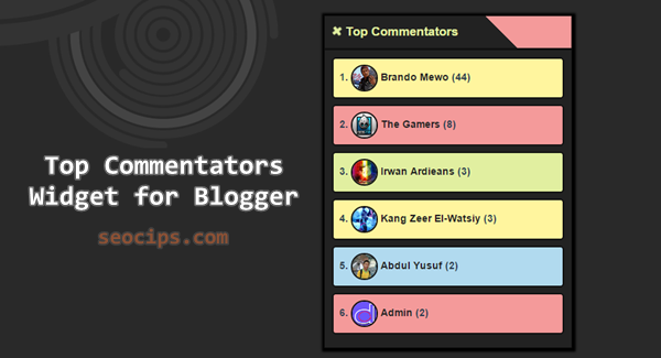 Cara membuat dan memasang Widget Top Commentators warna-warni di Blogger