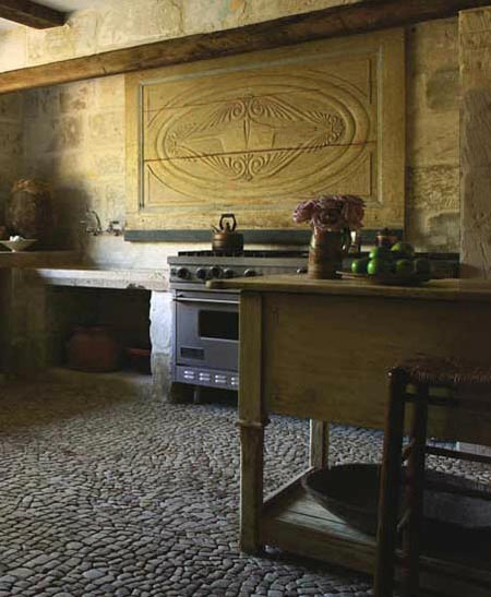 Kitchen, View 3 - Stone Walls, floors, antiques from Chateau Domingue, Design by Pamela Pierce for Ruth Gay, owner of Chateau Domingue, as seen on linenandlavender