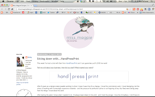 Ms Magpie Designs blog post about Hand Press Print