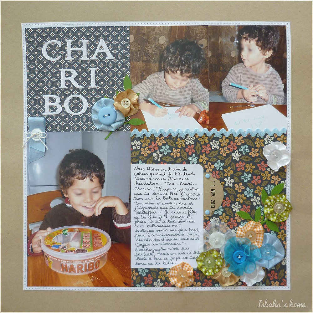 Scrapbooking layout with Basic Grey Persimmon papers