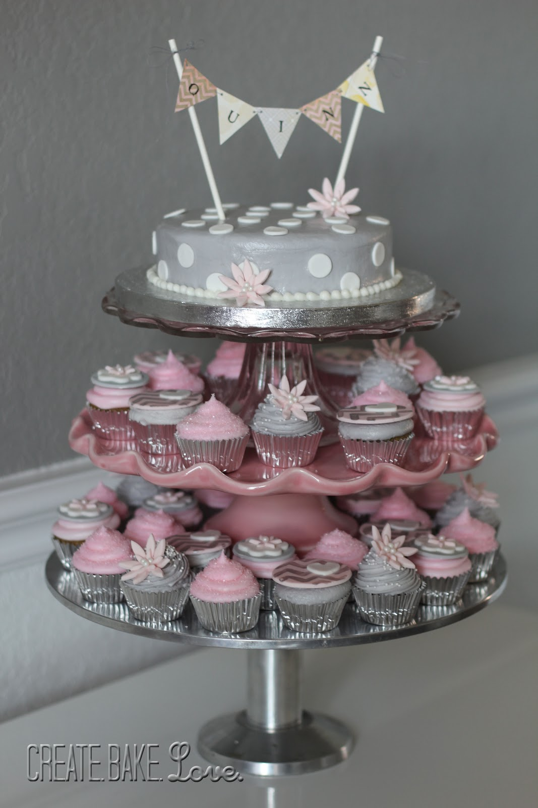 pink and silver baby shower cake