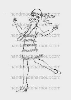 flapper girl digital stamp