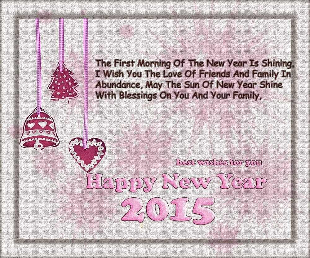 Lovely Hearts Happy New Year Wishes Holiday Cards 2015 Images