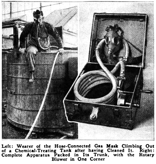 Wearer of the Hose-Connected Gas Mask Climbing Out of a Chemical-Treating Tank after having cleaned it.