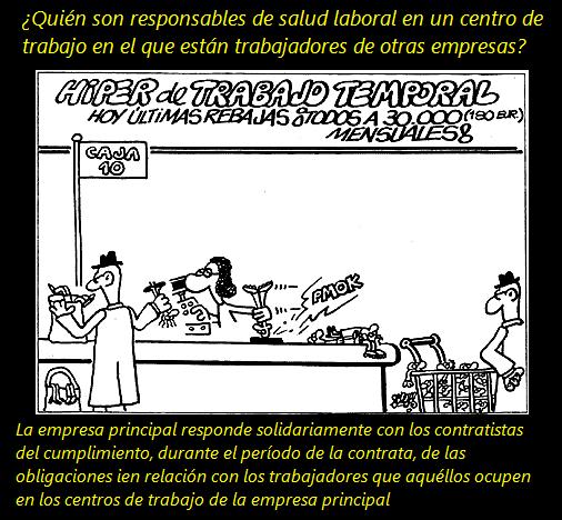 MobbingMadrid Quién son los responsables de salud laboral en un centro de trabajo en el que están trabajadores de otras empresas