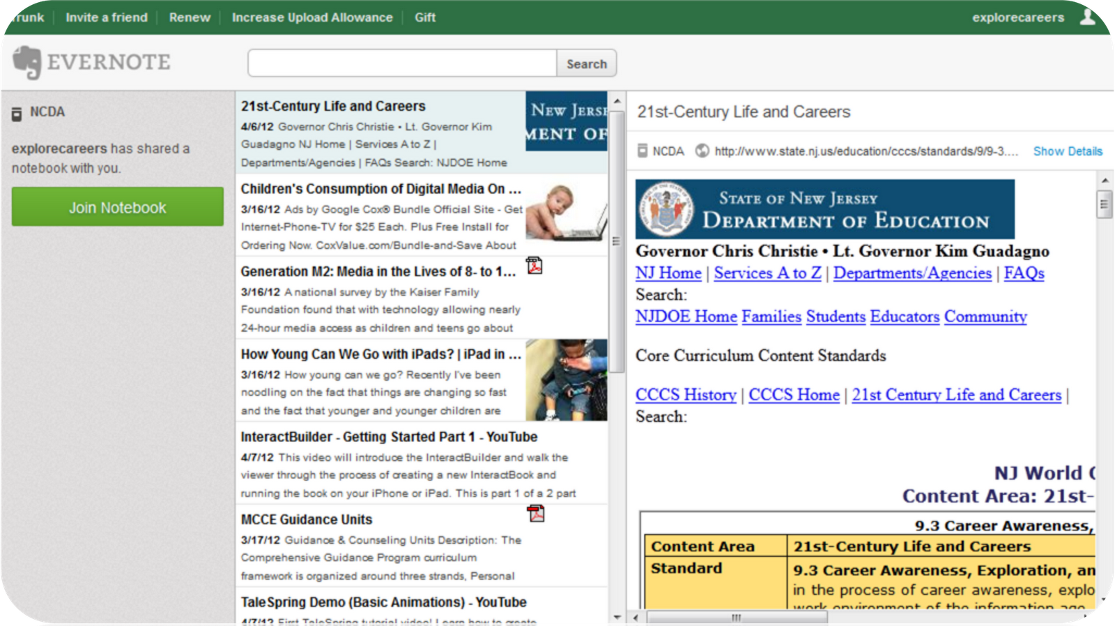 career and social media blog 2012 evernote is a suite of software and services designed for note taking and archiving