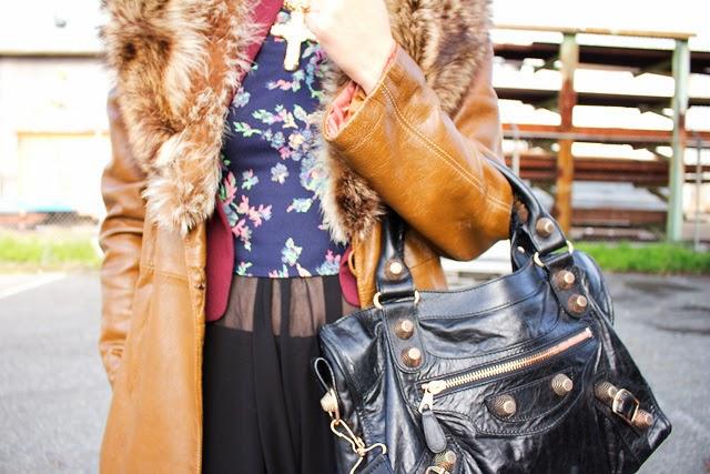 Vancouver fashion blogger Jasmine Zhu wearing vintage fur collar coat