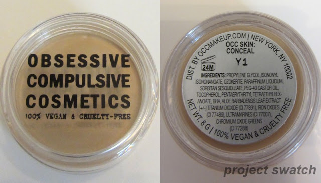 OCC Skin: Conceal in Y1, packaging and ingredients
