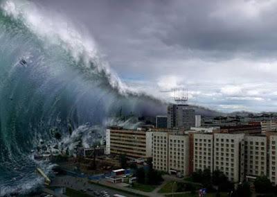 Imagen real de un tsunami en una ciudad