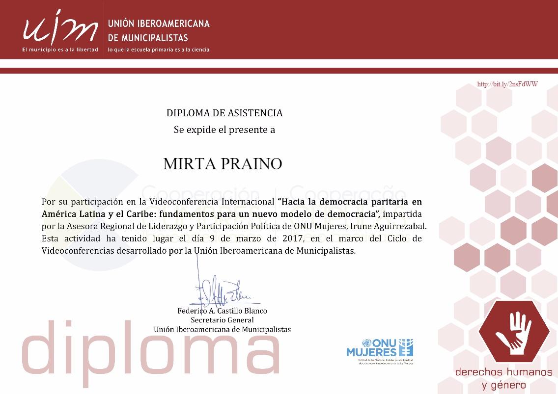 Diploma de Asistencia UIM Unión Iberoamericana de Municipalistas