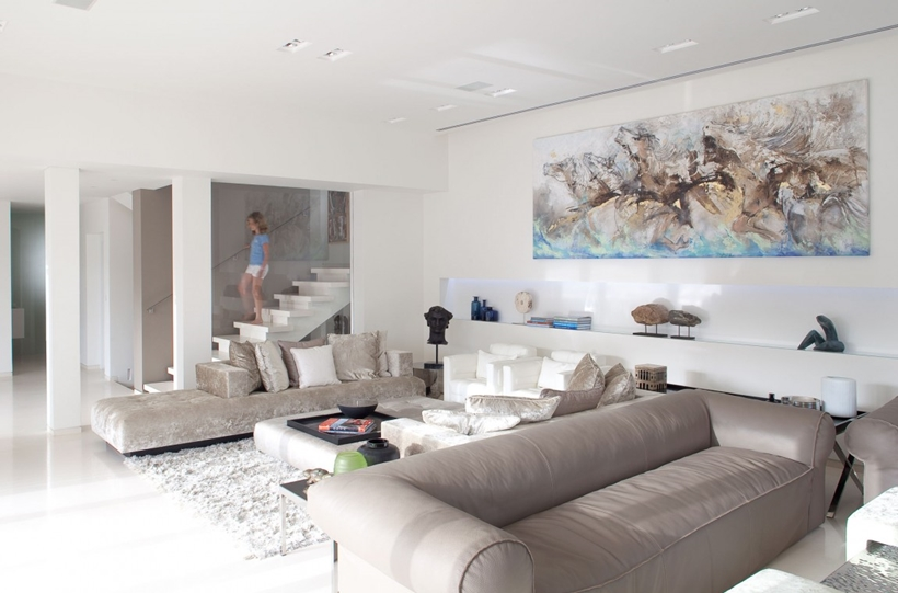 Living room and White interior design in modern Sea Shell home