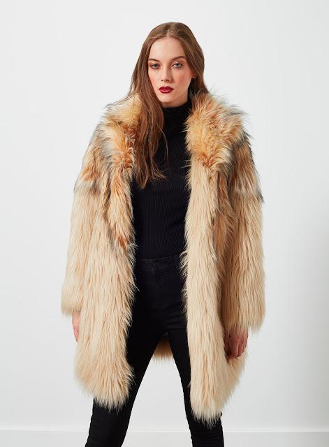 selfridge cream fur coat, blonde fur coat,