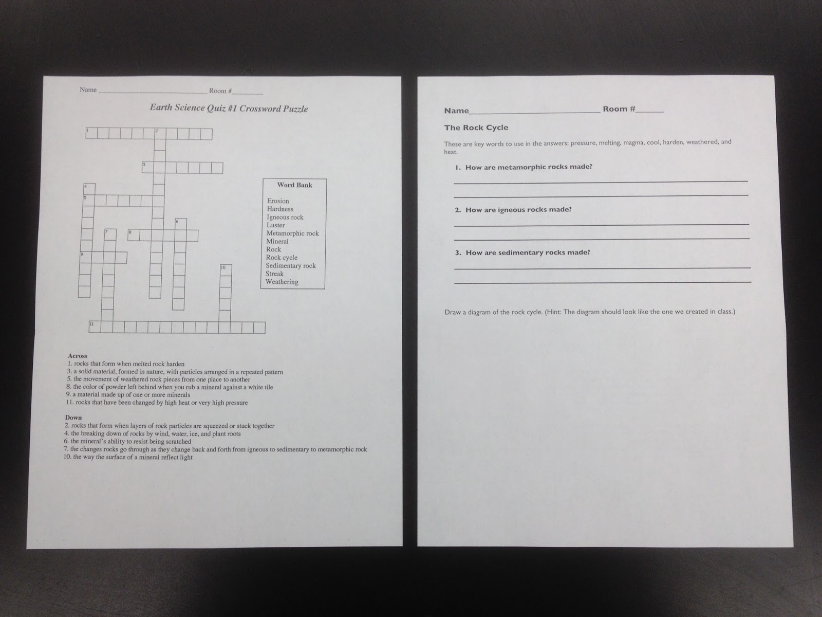 Mr gantts earth science lab blog 4th grade week 3 the rock cycle homework review crossword puzzle ccuart