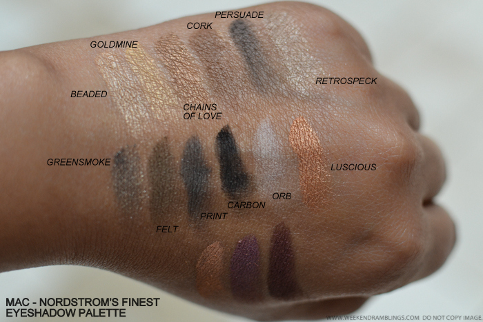 MAC Nordstroms Finest 15 Eyeshadows Palette Swatches Beaded Goldmine Chains of Love Cork Persuade Retrospeck Greensmoke Felt Print Carbon Orb Luscious Soft Brown Trax Plummed