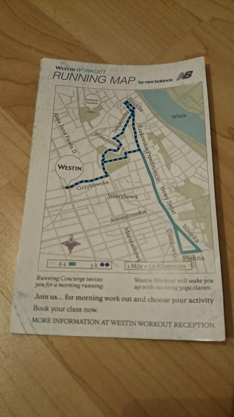 westin hotel warsaw running map