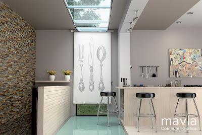 Tende a pannelli con disegni per cucine moderne - ambientazioni 3d e rendering fotografici per cataloghi aziendali