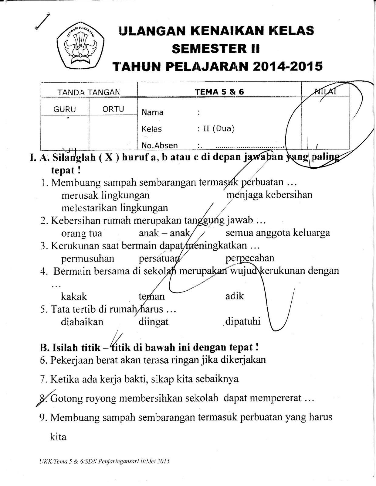 Ragam Budaya Nusantara Soal Ukk Tematik Kelas 2 Tema 5 Dan 6 Semester 2