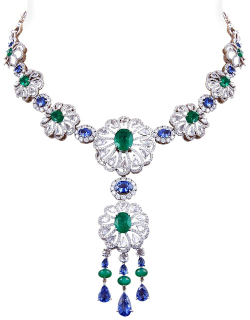 Entice Bouquet Jewellery collection Emerald & Blue Sapphire Morning Glory Flower Necklace