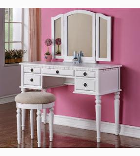 Poundex Bobkona Vanity Set with Mirror