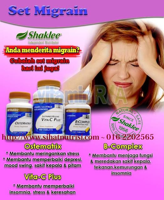 Atasi masalah Migrain  dengan Vitamin Shaklee