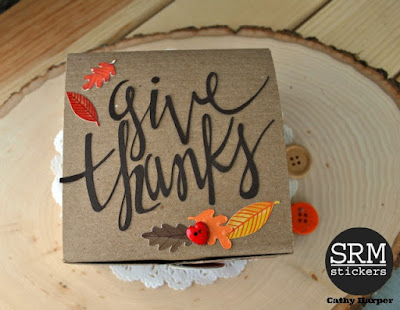SRM Stickers Blog - Give Thanks Gift Box - #kraft #box #stickers #fall #autumn #thanksgiving