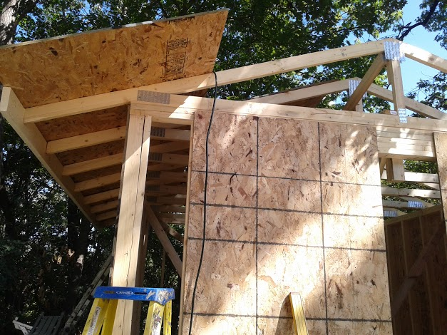 Roof and wall sheathing in place.