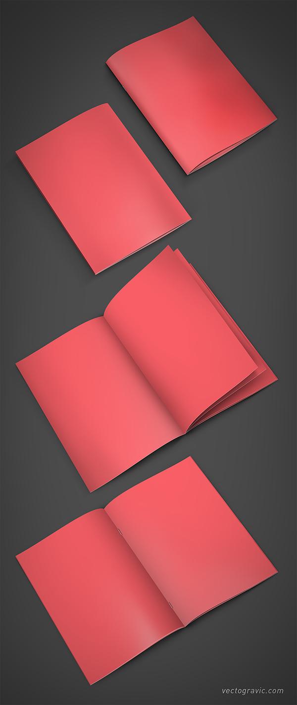 Download Gratis Mockup Majalah, Brosur, Buku, Cover - A4 Booklet Mockup